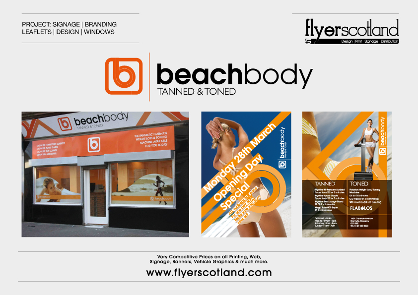 Signage branding logo design leaflet printing window beach body branding signs reheart Gallery